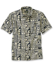 Fasten the coconut buttons on this casual tiki motif shirt for an instant vacation vibe.