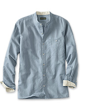 This men's long-sleeve banded-collar linen and cotton shirt relaxes your dressed-up look.
