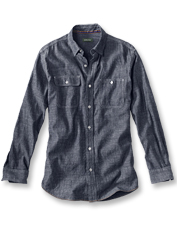 Moisture-wicking hemp and breathable cotton are a winning duo in this chambray shirt.