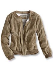 This feminine version of the classic baseball jacket showcases soft suede and pretty details.