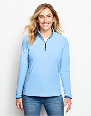Our sleek Microgrid Fleece Quarter-Zip boasts superior softness and feminine design details.