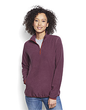 This sleek women's quarter-zip fleece boasts superior softness and feminine design details.
