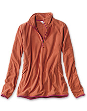 Our sleek Quarter-Zip Microgrid Fleece boasts superior softness and feminine design details.