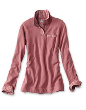 This French terry quarter-snap sweatshirt for women is a summery layer with thoughtful details.