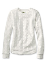 A pretty cabled pattern elevates this women's crewneck pullover above an ordinary sweatshirt.