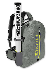 Our improved Orvis waterproof nylon backpack protects your gear in any conditions.