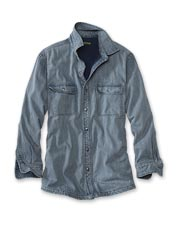 Vintage styling pairs with the warmth and comfort of fleece-lined denim in this handsome shirt.