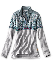 You'll love the cozy fleece interior and cheerful snowflake print on this quarter-zip pullover.