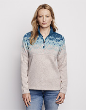 Our Snow River quarter-zip offers the coziness of fleece and the polished style of a sweater.