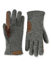 These grippy gloves boast an indulgent fleece lining and a handsome sweater-knit wool outer.