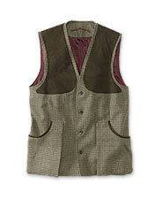 This shooting vest by Laksen shows off handsome tweed, rugged wool, and traditional design.