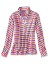 Cheerful stripes revise our favorite quarter-zip sweatshirt, a women's wardrobe must-have.