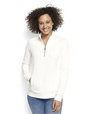 No ordinary sweatshirt, this women's quarter-zip boasts an eye-catching jacquard knit.