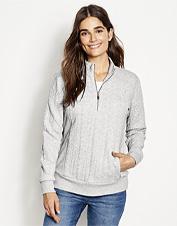 No ordinary sweatshirt, this quarter-zip boasts an eye-catching jacquard knit.