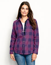 The Tetons Flannel-and-Fleece Shirt Jacket lends water-repellent protection and favorite-shirt style.