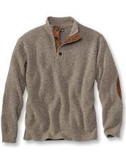 Our Quail Creek button mockneck pullover offers the easy comfort of wool and cashmere.