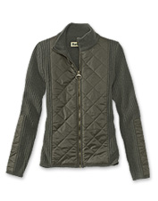 3036a3a0e01f2 Soft knit lambswool meets dressy diamond quilting in this chic women s zip  sweater by Barbour.