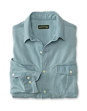 A rigorous washing process imparts a familiar faded look to our men's chambray shirt.