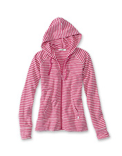 Our full-zip French terry hoodie possesses summery appeal, but layers well in cooler weather.