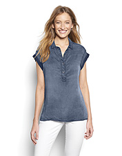 You'll love how this relaxed Tencel® popover shirt drapes over your jeans or leggings.
