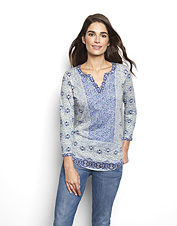 An eye-catching pattern and a soft slub-knit cotton blend make this women's tee exceptional.