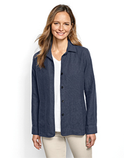 Our Shoreline Linen Shirt Jacket styles well over a cami, or serves as lightweight outerwear.