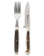 Ideal for camping, this handsome knife and fork set is constructed of 440A stainless steel.