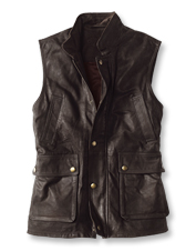 Our rugged munitions vest earns the look of lived-in comfort from distressed goat leather.