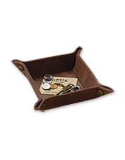 This handsome, square leather dresser tray makes a thoughtful gift to help him stay organized.