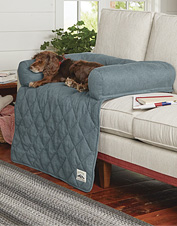 This ingenious bolstered couch protector doubles as a soft, indulgent bed for your dog.