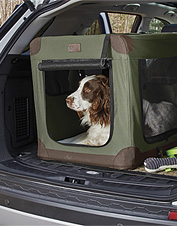 The Orvis folding travel dog crate features a lightweight, compact design ideal for car or home.