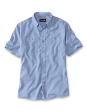 This well-appointed Tech Chambray Short-Sleeved Work Shirt promises comfort in the heat.