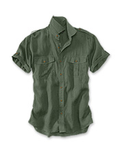 Prewashing gives this men's short-sleeved linen bush shirt its broken-in comfort and softness.