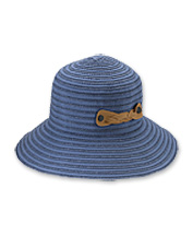 This pretty, packable UPF 50+ bucket hat rolls up and is held tight by a clever braided strap.