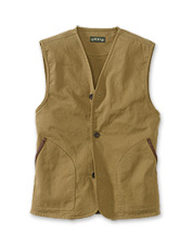 This improved men's twill V-neck vest makes a versatile and comfortable travel companion.