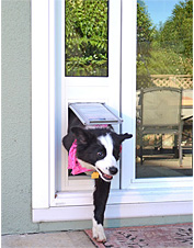 This dog door easily installs without tools in your sliding glass door.