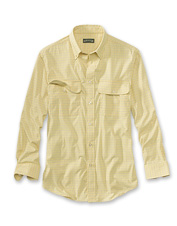 A touch of spandex imparts pliant comfort to this men's cool, long-sleeved travel shirt.