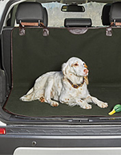 This Gokey® canvas and leather dog cargo protector recalls our familiar Battenkill® luggage.