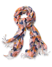 This Luxe Blend Scarf features a dramatic island block print motif to elevate your look.
