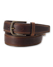 Dress up any occasion with the polish granted by this double-needle stitched leather belt.