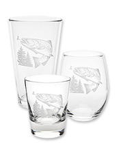 Enjoy your favorite wine, spirits, or craft beer in this set of four etched trout glasses.