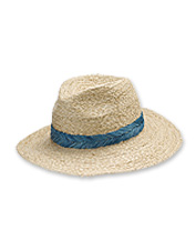 611c2b4837b22 Pretty embroidered chambray adds interest to this chic woven raffia rancher  hat.