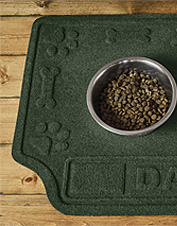 Our dog food mat can be personalized for free. Made in USA.