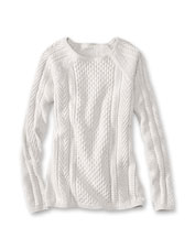 This sweater keeps it simple—and elegant—with raglan sleeves and a cable stitch pattern.