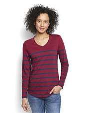 Crisp autumn days call for the easy comfort of this Cotton Jersey Striped Elbow Patch Tee.