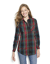 Wrinkle-free plaid sets off a trim embellished with glass beads on this elegant cotton tunic.