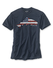This appealing T-shirt showcases a likeness of the American flag in the silhouette of a trout.