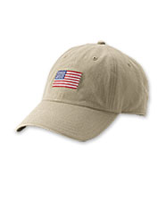 This patriotic ball cap boasts soft cotton construction and a needlepoint American flag.