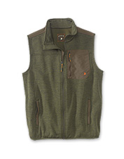 The Field Vest in stretch fleece promises freedom of movement and warmth without bulk.