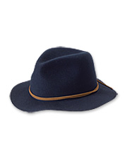 Our packable wool felt hat protects the wearer from both sun and rain.